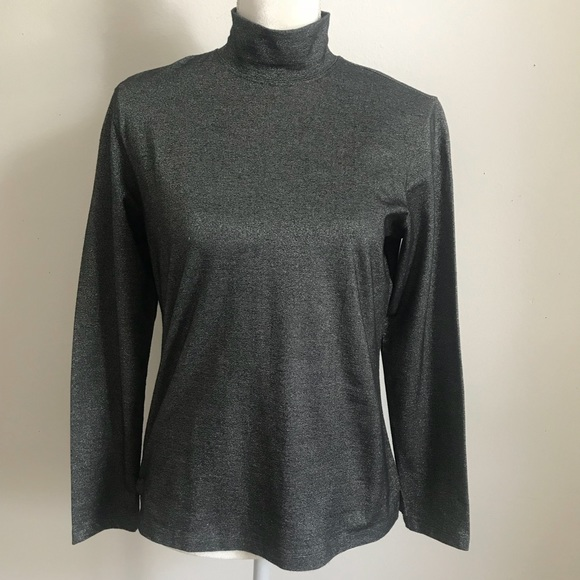 Talbots Tops - Talbots black silver metallic mock neck top Sz S